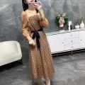 Dress Spring 2020 Milk tea color S,M,L longuette singleton  Long sleeves Sweet High collar High waist Dot Socket Big swing bishop sleeve Type X princess
