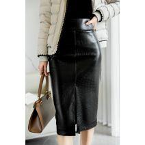 skirt Autumn 2020 2,4,6,8 black Mid length dress Versatile High waist Solid color