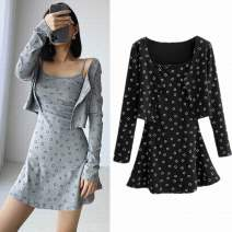 Dress Autumn 2020 Black, gray S, M Short skirt Two piece set Long sleeves street square neck High waist Dot Socket A-line skirt routine camisole 18-24 years old Type A Thread, printing More than 95% knitting cotton Europe and America