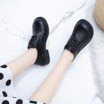 Low top shoes 35,36,37,38,39,40 Other / other Black, dark brown Round head PU Flat bottom Low heel (1-3cm) Deep mouth PU Autumn 2020 Frenulum rubber Single shoes