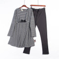 Home suit L Black Grey Stripe + black trousers, Zhangqing white stripe + grey trousers MOfEA MOCER Long sleeves spring and autumn trousers routine cotton