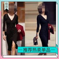 Dress Autumn 2020 Black drawstring dress (summer thin), black drawstring dress (autumn thick), purplish red suit coat Small (80-110kg), large (110-130kg) Other / other