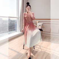 Dress Spring 2021 Pink, dark green S,M,L,XL Mid length dress Fake two pieces three quarter sleeve commute tailored collar High waist Solid color Socket A-line skirt routine 25-29 years old Type A Justvivi style lady Fold, pocket, stitching, tridimensional decoration, button, zipper Q00007445