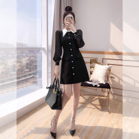 Dress Spring 2021 black S,M,L,XL,2XL Middle-skirt singleton  Long sleeves commute Polo collar High waist Dot Single breasted A-line skirt shirt sleeve 25-29 years old Type A Justvivi style lady Fold, pocket, stitching, tridimensional decoration, buttons Q00006334