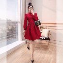 Dress Spring 2021 Red, black S,M,L,XL Middle-skirt singleton  Nine point sleeve commute stand collar High waist Solid color zipper A-line skirt other 25-29 years old Type A Justvivi style lady Hollow, open back, fold, stitching, three-dimensional decoration, zipper Q00006372
