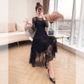 Dress Spring 2021 black S,M,L,XL Mid length dress singleton  Long sleeves commute Crew neck High waist Solid color Socket A-line skirt routine 25-29 years old Type A Justvivi style lady Hollowed out, embroidered, pleated, stitched, three-dimensional decoration, zipper, lace Q00003864