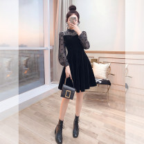 Dress Spring 2021 black S,M,L,XL Mid length dress singleton  Long sleeves commute stand collar High waist Dot Socket A-line skirt shirt sleeve 25-29 years old Type A Justvivi style lady