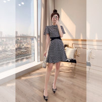 Dress Summer 2021 Decor S,M,L,XL Middle-skirt singleton  Short sleeve commute stand collar High waist Decor Socket A-line skirt routine 25-29 years old Type A Justvivi style lady Hollow, pleated, Auricularia auricula, stitching, zipper, printing, waist Q00003667