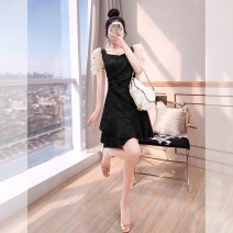 Dress Autumn 2021 black S,M,L,XL Middle-skirt singleton  Short sleeve commute square neck High waist Solid color Socket A-line skirt other 25-29 years old Type A Justvivi style lady Ruffles, folds, stitching, three-dimensional decoration, sequins, gauze mesh, zipper Q00005951