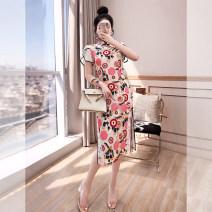 cheongsam Spring 2021 XXL,S,M,L,XL Decor, decor long sleeve Short sleeve Single cheongsam Retro Low slit daily Oblique lapel Decor 25-35 years old Piping Q00005917 Justvivi style