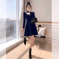 Dress Spring 2021 Black, navy blue S,M,L,XL Middle-skirt singleton  Long sleeves commute other High waist Decor Socket A-line skirt routine 25-29 years old Type A Justvivi style lady Folds, stitching, three-dimensional decoration Q00006489
