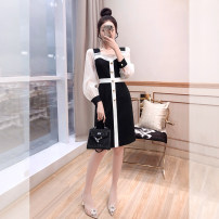 Dress Spring 2021 black S,M,L,XL Mid length dress singleton  Long sleeves commute square neck High waist Solid color Socket A-line skirt routine 25-29 years old Type A Justvivi style lady Flounce, patch, fold, auricle, stitching, three-dimensional decoration, button, zipper Q00006068