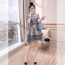 Dress Autumn 2021 Decor S,M,L,XL Mid length dress singleton  Short sleeve commute stand collar High waist Decor Socket A-line skirt other 25-29 years old Type A Justvivi style lady Ruffles, folds, auricles, stitching, three-dimensional decoration, buttons, zippers, printing