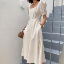 Dress Summer 2020 Black, red, beige S,M,L,XL Middle-skirt singleton  Short sleeve commute square neck 202173B