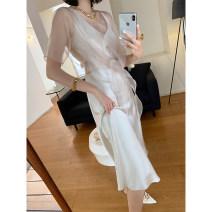Dress Summer 2020 Apricot, white S,M,L,XL longuette Two piece set Sleeveless commute V-neck High waist Solid color camisole