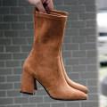 Boots 34 35 36 37 38 39 Эластичное полотно Карамельное цветное пятно Черное пятно Эластичное полотно Наивысшее волокна другой / другие Средняя трубка остроконечный Высокий каблук (5-8 см) Толстый с Наивысшее волокна Зима 2017 гильза Корейская версия резина Чистый цвет Клейкая обувь Рыцарские сапоги