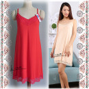 Nightdress Other / other Milky white, black, apricot, red Average size Sweet camisole Short skirt summer Solid color youth V-neck viscose  lace More than 95% Modal fabric