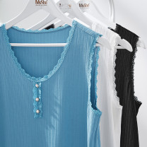 Women's large Summer 2021 Crystal blue spot, crystal blue, cloud white spot, cloud white, classic black spot, classic black spot Large XL, 2XL, 3XL, 4XL, 5XL, 6xl Vest / sling singleton  commute Self cultivation thin Socket Solid color Simplicity Crew neck Polyester, others T2104153 25-29 years old