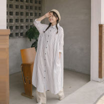 Dress Spring 2021 White (now + pre), blue (now + pre) Average size longuette singleton  Long sleeves street Polo collar Loose waist stripe Single breasted other shirt sleeve Others 18-24 years old Type H QUEEN FASHION SHOP More than 95% cotton