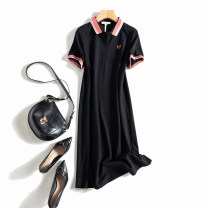 Dress Summer 2021 Army green, black 3XL,2XL,XL,L,M Mid length dress singleton  Short sleeve street Polo collar middle-waisted Solid color Socket A-line skirt routine Others Stitching, embroidery 51% (inclusive) - 70% (inclusive) cotton Sports & Leisure