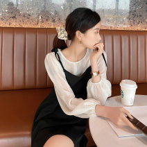 Dress Spring 2021 Black, haze blue S,M,L Mid length dress Two piece set Long sleeves commute Crew neck Loose waist Solid color Socket A-line skirt routine 18-24 years old Type H JTO LADY Korean version fold K420 31% (inclusive) - 50% (inclusive)