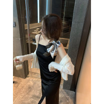 Dress Summer 2020 Pure desire for black S,M,L Middle-skirt singleton  Sleeveless street One word collar High waist Solid color Socket One pace skirt other camisole 18-24 years old Type H Bright color Split 30% and below other other