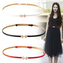Belt / belt / chain other Black, white, red female belt Sweet Single loop youth Flower design 1.4cm alloy alone dk-f3 90cm