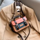 Bag Inclined shoulder bag PU Small square bag Magic bag workshop brand new Japan and South Korea Small leisure time hard zipper no Solid color Single root One shoulder portable messenger nothing youth Horizontal square Color contrast Telescopic handle synthetic leather soft surface Inner patch pocket