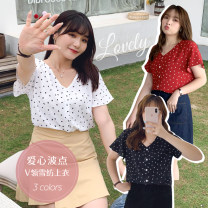 Women's large Spring 2021, summer 2021, autumn 2021 Black, red, white Large XL, large XXL, large XXL, large XXXXL, large XXXXL, large L shirt singleton  Sweet easy thin Cardigan Short sleeve shape V-neck routine polyester Three dimensional cutting routine 25-29 years old Button Ruili