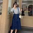 Women's large Autumn 2020 navy blue Large XL, large XXL, large XXL, large XXXXL, large XXXXL skirt singleton  Sweet moderate Sleeveless Solid color Denim Three dimensional cutting 25-29 years old Button longuette Ruili