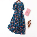 Dress Spring 2021 Turquoise Blue gingko leaves Loose one size fits all longuette singleton  Short sleeve commute Crew neck Loose waist Decor Socket A-line skirt routine Type A Manis Retro printing L--7---1 More than 95% Crepe de Chine silk