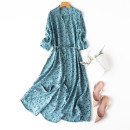 Dress Summer 2020 Blue bird L,XL Mid length dress singleton  three quarter sleeve commute V-neck Loose waist Decor Single breasted A-line skirt routine Others Type A literature More than 95% Crepe de Chine silk