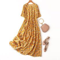 Dress Spring 2021 Pastoral Loose one size fits all longuette singleton  Short sleeve commute Crew neck Loose waist Decor Socket A-line skirt routine Type A Manis literature printing More than 95% Crepe de Chine silk