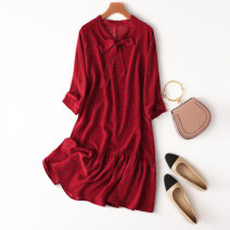 Dress Spring 2021 Brick red Average size Middle-skirt singleton  Nine point sleeve Sweet Loose waist Decor Socket A-line skirt routine Type A Manis printing L--3--22 More than 95% Crepe de Chine silk