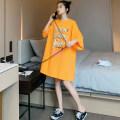 Women's large Summer 2020 orange T-shirt singleton  commute easy moderate Socket Short sleeve letter Korean version Crew neck Medium length cotton printing and dyeing routine 18-24 years old Resin fixation 91% (inclusive) - 95% (inclusive) Medium length