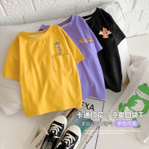 T-shirt Black, purple, yellow, beige Small die 80cm,90cm,100cm,110cm,120cm,130cm male summer Short sleeve Crew neck leisure time No model nothing other Cartoon animation Other 100% X1830 18 months, 2 years old, 3 years old, 5 years old, 6 years old, 7 years old, 8 years old
