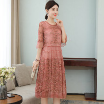 Dress Summer 2020 Pink, apricot M,L,XL,2XL,3XL longuette singleton  elbow sleeve commute Crew neck middle-waisted Decor Socket A-line skirt routine Others 30-34 years old Type A Other / other Retro Embroidery 81% (inclusive) - 90% (inclusive) other other