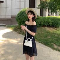 Dress Summer of 2019 Black Polka Dot Chiffon Dress in stock S,M,L Short skirt singleton  Short sleeve commute square neck Elastic waist Dot Socket puff sleeve Type X Korean version Chiffon