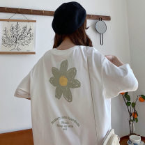 T-shirt Black, white, green, pink XL,L,M Summer 2021 Short sleeve Crew neck easy Medium length routine commute cotton 51% (inclusive) - 70% (inclusive) 18-24 years old Plants and flowers printing