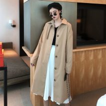 Windbreaker Autumn of 2019 Average size (160 / 84A) Long sleeves routine Medium length commute Single breasted Polo collar routine Solid color Straight cylinder Korean version Other / other 18-24 years old