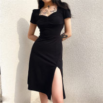 Dress Summer 2020 black S,L,M longuette singleton  Short sleeve street square neck High waist Solid color A-line skirt routine Others 25-29 years old Splicing other