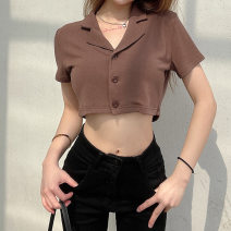 shirt brown S,L,M Summer 2021 polyester fiber 91% (inclusive) - 95% (inclusive) Short sleeve other Short style (40cm < length ≤ 50cm) other Three buttons routine Solid color 18-24 years old Straight cylinder stockinet
