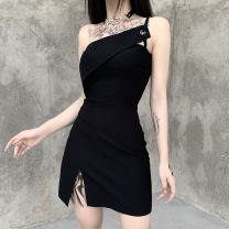 Dress Summer 2020 black S,L,M Short skirt singleton  street High waist Solid color Socket A-line skirt camisole 18-24 years old Splicing, asymmetric 91% (inclusive) - 95% (inclusive) other Cellulose acetate