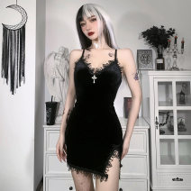 Dress Spring 2021 black S,L,M Short skirt singleton  street High waist Solid color Socket A-line skirt camisole 18-24 years old Stitching, fungus, lace 91% (inclusive) - 95% (inclusive) other polyester fiber