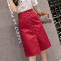 skirt Spring 2021 S,M,L,XL,2XL Red, apricot, black, off white Mid length dress Versatile High waist A-line skirt Solid color Type A 25-29 years old 6658# 81% (inclusive) - 90% (inclusive) other Other / other cotton Pocket, button 201g / m ^ 2 (including) - 250G / m ^ 2 (including)