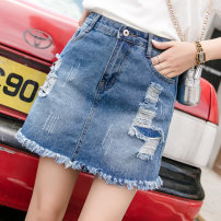 skirt Summer 2020 S,M,L,XL,2XL Blue [with anti light safety pants] Short skirt Versatile High waist A-line skirt Solid color Type A 18-24 years old YYPG6226 81% (inclusive) - 90% (inclusive) Denim Other / other cotton Tassels, holes, hand worn, buttons, zippers