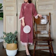 cheongsam Spring of 2019 L, M rose red Long sleeves long cheongsam Retro Low slit banquet Oblique lapel Solid color 25-35 years old Piping Nanfeng Valley Cellulose acetate 96% and above