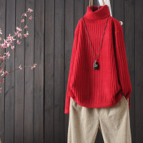 Wool knitwear Winter of 2019 Average size Black, red, yellow, khaki, blue, pink, beige, turquoise, dark turquoise, blue Long sleeves singleton  Socket cotton 51% (inclusive) - 70% (inclusive) Regular routine commute easy High collar routine Solid color Socket literature A011501-0.46 Other / other