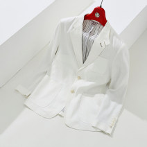 man 's suit white Jannel / Chino Business gentleman routine 48,50,52,54,56 M214033 Flax 55% viscose fiber (viscose fiber) 42% polyurethane elastic fiber (spandex) 3% Self cultivation Two double breasted Other leisure No slits youth Long sleeves spring routine Casual clothes Solid color
