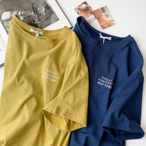 T-shirt Blue, yellow green Average size Summer 2021 Short sleeve Crew neck easy Regular routine commute cotton 96% and above 18-24 years old Korean version classic letter printing